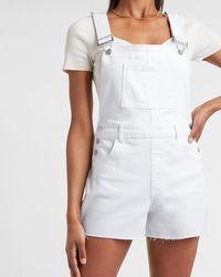 Express White Raw Hem Jean Short Overalls White