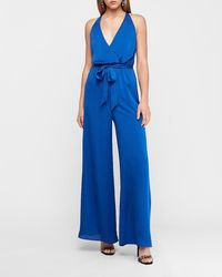 Express Satin Wrap Front Halter Neck Wide Leg Palazzo Jumpsuit Blue