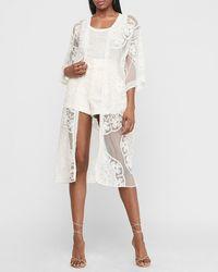 Express Lace Kimono Cover-up White