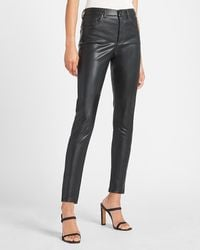 Express High Waisted Faux Leather Skinny Ankle Pant Pitch Black