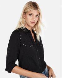 Express - Studded Silky Soft Twill Boyfriend Shirt - Lyst