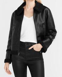 Express Shearling Collar Faux Leather Jacket Black Xxs