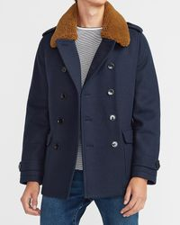 Express Sherpa Collar Water-resistant Trench Coat - Blue