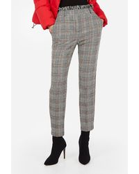 Express - High Waisted Plaid Frayed Ankle Pant Black And White - Lyst