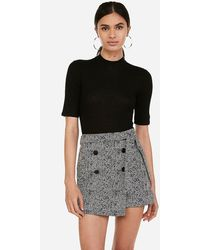 Express High Waisted Jacquard Wrap Button Front Skort Black And White