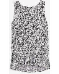 Express Ribbed Dot Print Peplum Tank Black White