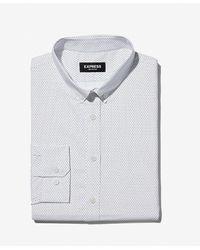 Express Extra Slim Polka Dot Print Wrinkle-resistant Performance Dress Shirt - White