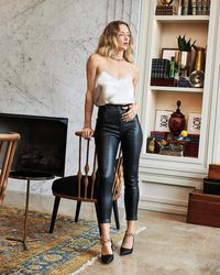 Express Super High Waisted Faux Leather Moto Skinny Pant Pitch Black