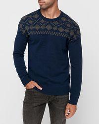 Express Wool-blend Fair Isle Crew Neck Sweater Blue
