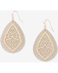 Express Teardrop Glitter Filigree Drop Earrings Gold - Metallic