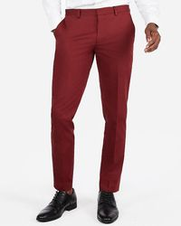 Express Extra Slim Burgundy Cotton Sateen Stretch Suit Trousers Red W28 L30