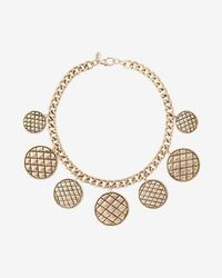 Express - Quilted Station Charm Necklace - Lyst