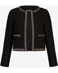 Express Chain Trim Boucle Jacket Pitch Black