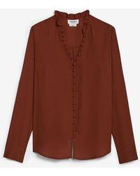 Express Original Fit Ruffle Collar Portofino Shirt - Brown