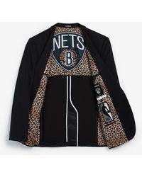 Express Slim Brooklyn Nets Nba Performance Stretch Blazer - Black