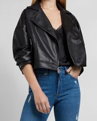 Express Cropped Faux Leather Moto Jacket Pitch Black