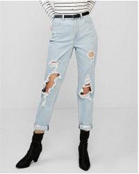 Express - High Waisted Ripped Rolled-hem Original Girlfriend Jeans, Women's Size:8 - Lyst