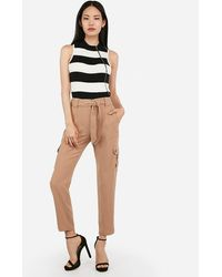 Express Striped Mock Neck Zip Front Sleeveless Jumper Black And White Stripe Xxs