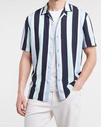 Express Slim Striped Rayon Short Sleeve Shirt - Blue