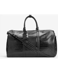 Express Croc-embossed Faux Leather Duffle Bag Black