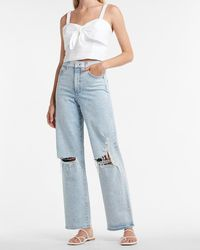 Express Super High Waisted Ripped 90s Wide Leg Palazzo Jeans, Size:4 Long - Blue