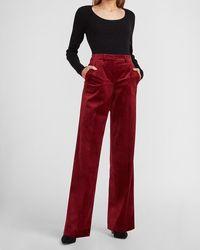 Express High Waisted Velvet Trouser Pant Desire Red