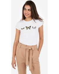 Express Butterflies Graphic Crew Neck Slim Tee White