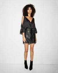 Express - (minus The) Leather Asymmetrical Mini Skirt - Lyst