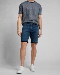 Express Dark Wash Temp Control Hyper Stretch Jean Shorts Blue 34