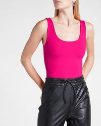 Express Bodycon High Compression Scoop Neck Thong Bodysuit Pink M