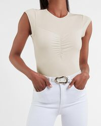 Express Ruched Front Thong Bodysuit Neutral Xs - White