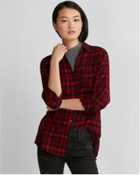 Express - Plaid Flannel Boyfriend Shirt - Lyst