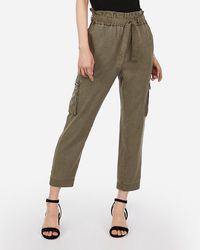 Express High Waisted Paperbag Utility Cargo Pant Olive Green