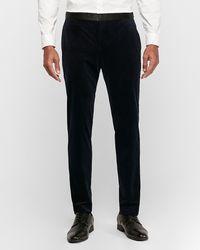 Express Slim Navy Velvet Tuxedo Pants Blue