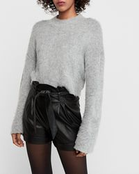 Express Super High Waisted Paperbag Faux Leather Shorts Black