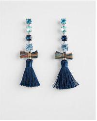 Express - Linear Stone Tassel Drop Earrings - Lyst