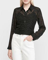 Express Leopard Clip Dot Portofino Shirt Pitch Black