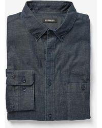 Express - Slim Dark Wash Denim Shirt - Lyst