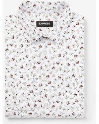 Express Slim Floral Stretch Cotton 1mx Dress Shirt - White