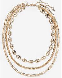 Express Three Row Layered Chain Necklace - Metallic