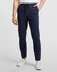 Express Slim Striped Navy Seersucker Drawstring Suit Pants - Blue