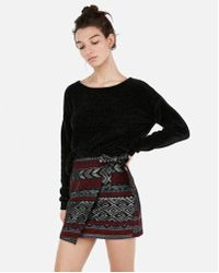 Express - Etite Metallic Aztec Jacquard Wrap Mini Skirt - Lyst