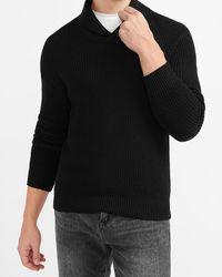 Express Solid Shawl Collar Jumper - Black