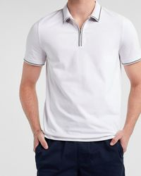 Express Tipped Collar Moisture-wicking Performance Zip Polo White L Tall