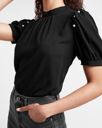 Express Pearl Puff Sleeve Top Pitch Black