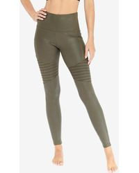Express Electric Yoga High Waisted Moto Leggings Olive - Green