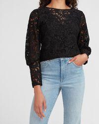 Express Lace Overlay Blouson Sleeve Top Black Xxs