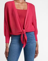 Express - Tie Front Balloon Sleeve Cardigan Pink S - Lyst