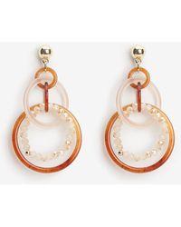 Express - Resin Interlocking Circle Drop Earrings Neutral - Lyst