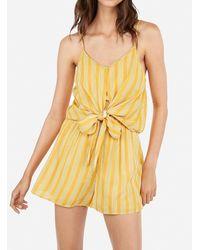 Express Printed Tie Overlay Flounce Romper Yellow Stripe Xxs